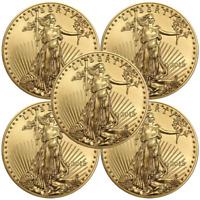 Lot of 5 - 2018 $5 American Gold Eagle 1/10 oz Brilliant Uncirculated