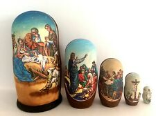 "New Hand Painted 6"" Christmas Nativity Life of Christ Russian Nesting Doll 5 Pc"