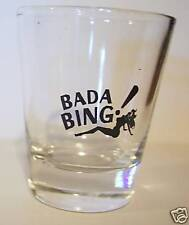 THE SAPRANOS BADA BING LOGO ON CLEAR SHOT GLASS