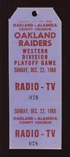 1968 WDPO Game @ Oakland Raiders Radio & TV Pass NRMT