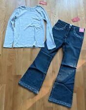 NWT Sz 12 Gymboree Heather Gray Top Basic Blue Jeans Crystals