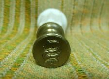 """Antique White Porcelain & Brass """"S"""" Wax Seal Stamp"""