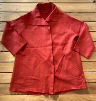 Eileen Fisher women's long sleeve Snap Up wool Jacket size S Red Orange E8