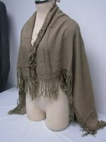 """VINTAGE MADE IN MORACO OLIVE LADIES SCARF SHAWL CAPE WRAP with FRINGE 36""""x38"""""""