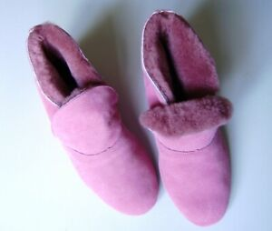 Morlands Ladies Balmoral Rose Leather Sole & Sheepskin Lined Slipper, Size 7 New