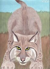 "Lynx Eyes 12"" x 9"" original acrylic painting by inmate artist 444"