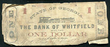 1862 $1 STATE OF GEORGIA BANK OF WHITFIELD DALTON, GA OBSOLETE BANKNOTE (B)