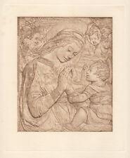 "Awesome 1800s Antonio Rossellino Antique Religious Print ""Virgin and Child"" COA"