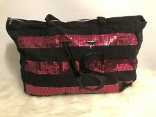 Victoria's Secret Black with Pink Sequins Extra Large Zip Tote Overnight Bag