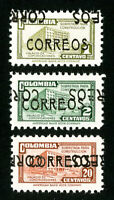 Colombia Stamps # 562-4 VF OG NH Double Overprint Set of 3