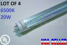 """G13 4FT 20W 6500K CLEAR T8 48"""" LED Tube Light Fluorescent Replacement LOT OF 4"""