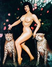 MARCUS BOAS~BETTIE PAGE WITH CHEETAHS~NEW OIL PAINTING!