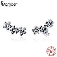 BAMOER S925 Sterling Silver Stud Earrings Daisy With Cz Flower For Women Jewelry