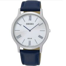 Seiko SUP857 P1 Silver with Blue Leather Strap Men's Solar Analog Watch