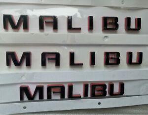 3x Black Letter Badge Emblem Red Base Side Trunk Redline for Chevrolet Malibu