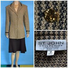 St John Collection Knit Gold Black Suit Jacket XL L 12 14 Blazer Trims Buttons