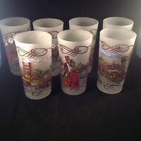 Vintage Federal Glass Frosted Tumblers Currier And Ives Gay Fad Set of 7