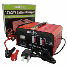 10AMP 12V/24V HEAVY DUTY VEHICLE BATTERY CHARGER CAR VAN ELECTRICAL CHARGING