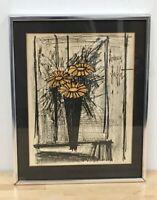 Vintage Original Framed Lithograph Print Flower by Bernard Buffet. Signed.