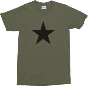 Black Star Military Green T-Shirt - Army, REM, S-XXL