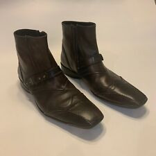 Mens Bacco Bucci Italian Zip Up Leather Strap Brown Leather Boots 10 1/2 MINT