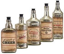 """Set of 5 Homestead Christmas Vintage Label Glass Bottles Antiqued Finish 8""""-11""""H"""