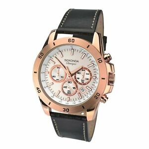 Sekonda Chronograph Quartz Silver Dial Brown Leather Strap Men's Watch 1087