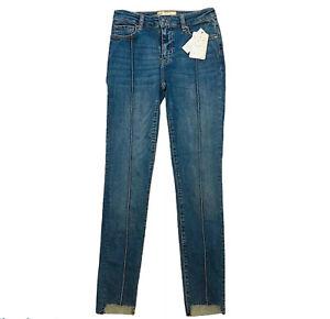 Free People Pintuck Skinny Jeans 27 Step Hem Island Blue Denim Womens New
