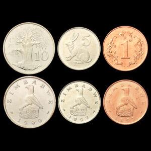 [J-3] Zimbabwe Set 3 Coins, 1+5+10 Cents, 1997-1999, UNC