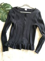 CAbi Women's Size Large 5287 Party Cardi Black Spring '18 Cardigan Sweater