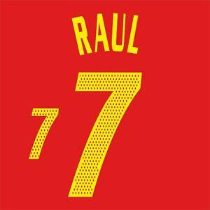 Raul 7. Spain Home football shirt 2002 - 2004 FLEX NAMESET NAME SET
