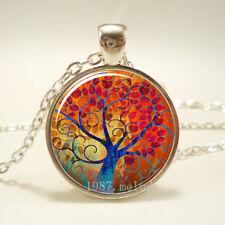Vintage Cabochon Glass beauty necklace tree of life Silver pendants #270