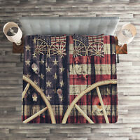 Western Quilted Coverlet & Pillow Shams Set, Antique American Flag Print