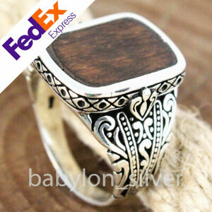 Natural Snake wood 925 Sterling Silver Turkish Handmade Luxury Men Ring All Size