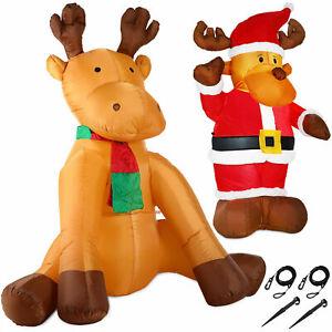 Rentier aufblasbar XL XXL LED Deko Befestigungsmaterial Weihnachten Figur Elch