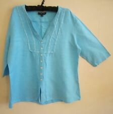 Linen 3/4 Sleeve Hand-wash Only Plus Size Tops & Blouses for Women
