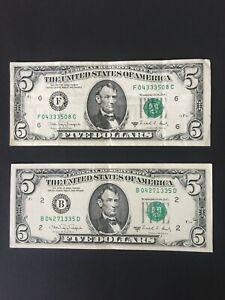 2 BILLET de 5 DOLLARS LINCOLN 1988