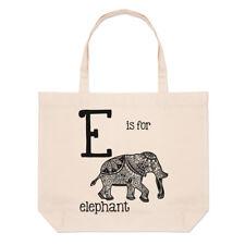 LETTERA E è per Elephant GRANDE BORSA CON MANICO da Spiaggia - Alfabeto