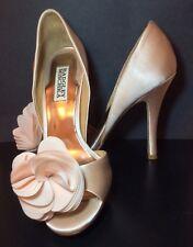 Badgley Mischka Thora Nude Peach Satin Evening High Heel Open Toe Pumps 7.5M