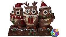 Set of 3 Novelty Xmas Christmas Nativity Owls on a Log Stump Ornament Figures