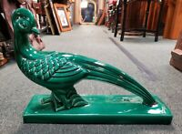 Ca 1930 French Art Deco Lemanceau Style Emerald Green Ceramic Pheasant Sculpture