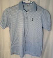 Peter Millar Men's Sz Large Light Blue Striped Golf Polo Shirt