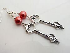Pretty Coral Pink Glass Pearl Drop Dangle Earrings with Silver Cat Key Charm