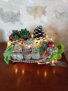 Brouette en bois,décorée pour NOËL avec guirlande LEDS