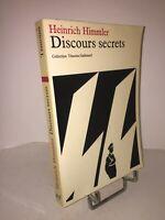 Discours secrets par Heinrich Himmler | Collection Témoins Gallimard