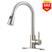 Single Level Handle High Arc Brushed Nickel Pull out Kitchen Sink Faucet