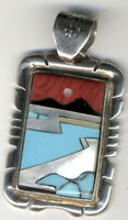 Turquoise, Coral, Onyx and Mother of Pearl Inlay Sterling Silver Signed Pendant