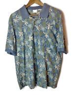 LL Bean Men's Size XL Multicolor Hawaiian Short Sleeve Polo Shirt Vintage