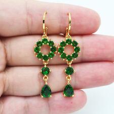 18K Yellow Gold Filled Women Elegant Emerald Topaz Zircon Drop Earrings Wedding