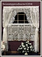 """HERITAGE LACE Ecru VICTORIAN ROSE Swag Pair 72""""W x 38""""L  Made USA LACE~"""